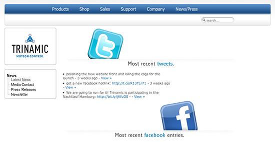 Website & Webshop trinamic.com